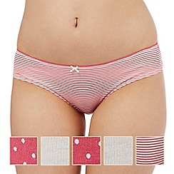 The Collection - Pack of five pink and cream plain, striped and spotted print bikini briefs