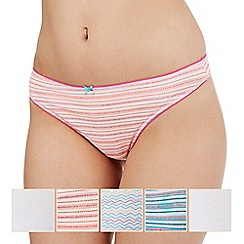 The Collection - Pack of five assorted plain, striped and zig zag print thongs
