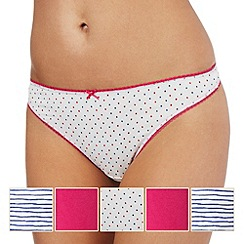 Debenhams - Pack of five pink and white plain, striped and spotted print thongs