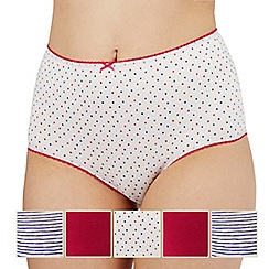 The Collection - Pack of five pink and white plain, striped and spotted print full briefs