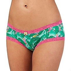 The Collection - Green parrot print shorts