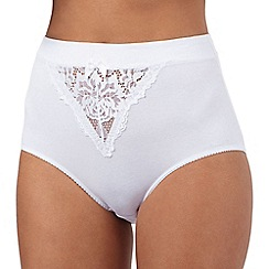 The Collection - White waistband lace cotton briefs