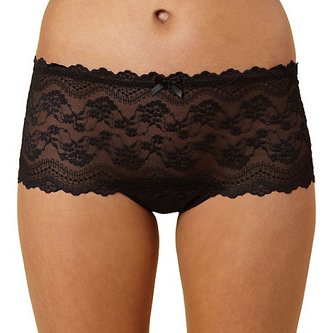 Debenhams - Black all over lace brazilian briefs