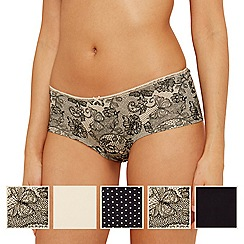 The Collection - Pack of five multi-coloured butterfly lace shorts
