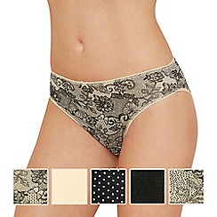 The Collection - 5 pack assorted butterfly print cotton blend high leg knickers