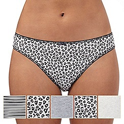 The Collection - Pack of five grey animal print high leg briefs