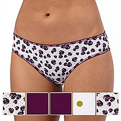 The Collection - Pack of five dark purple floral print bikini briefs
