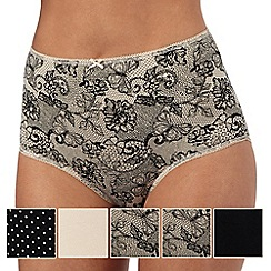 The Collection - Pack of five multi-coloured butterfly lace full briefs