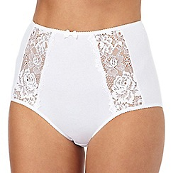 The Collection - White floral lace full briefs