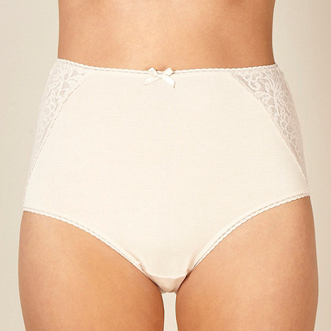Debenhams - Natural lace trimmed full briefs