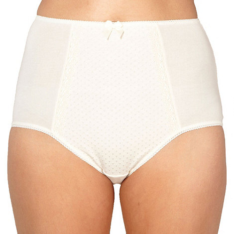 Debenhams - Ivory spotted panel full briefs