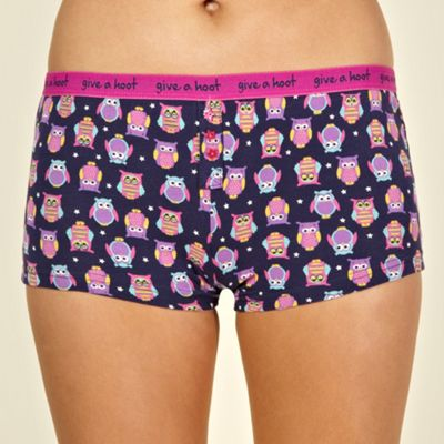 Navy owl patterned shorts