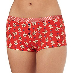 The Collection - Red gingerbread print boxer shorts