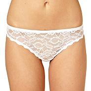 White invisible all over lace thong