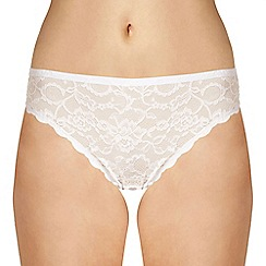 Debenhams - White invisible high leg lace briefs