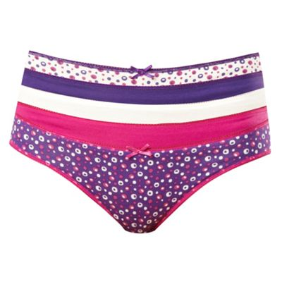 Pack of five purple spot bikini briefs