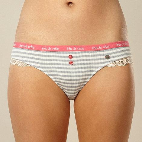 Iris & Edie - Designer grey ribbed striped briefs