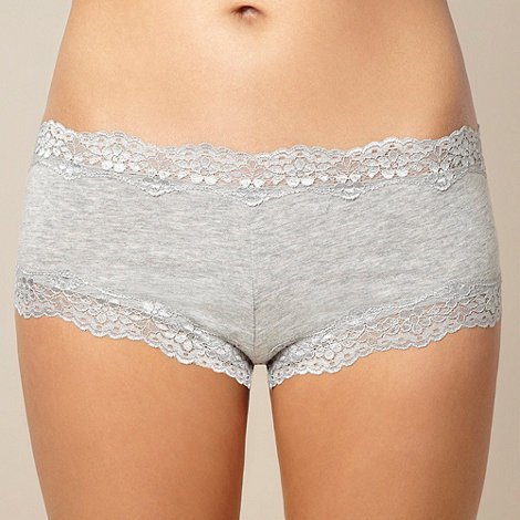 Debenhams - Grey cotton rich lace shorts