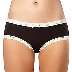 Debenhams - Black lace trim modal shorts