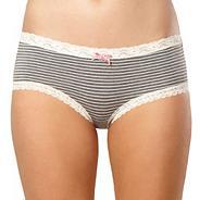 Grey lace trim modal shorts