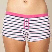 White striped boxer shorts