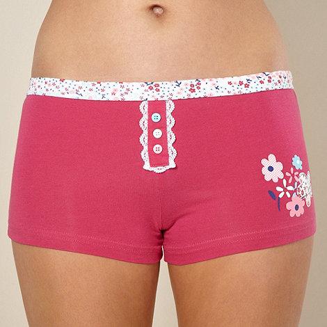 Debenhams - Dark pink floral lace trimmed shorts