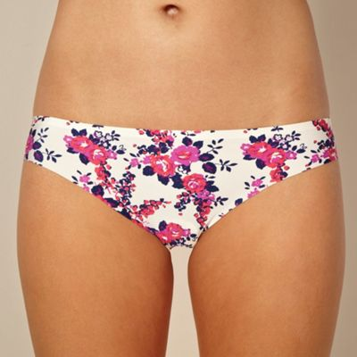 White floral lace brazilian briefs