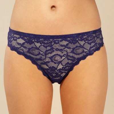Royal blue all over lace high leg shorts