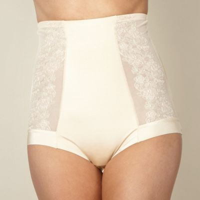 Natural embroidered high waist briefs