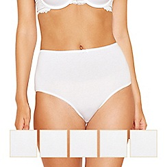 The Collection - 5 pack white cotton embroidered full brief knickers