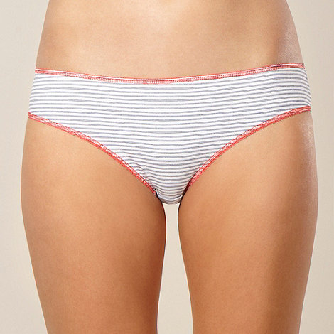Debenhams - Pack of five navy and coral striped bikini briefs