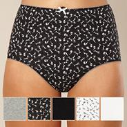 Pack of five black floral full briefs
