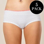 Pack of five navy and coral striped shorts