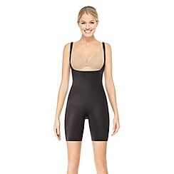 Assets Red Hot Label by Spanx - Black silhouette serums open-bust mid-thigh body-shaper
