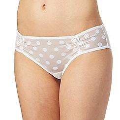 The Collection - White mesh polka dot bikini briefs
