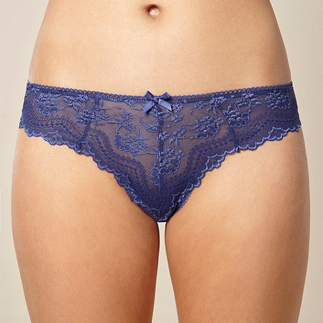 Debenhams - Royal blue lace front high leg briefs