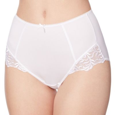 White lace trimmed full briefs