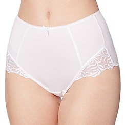 Debenhams - White lace trimmed full briefs