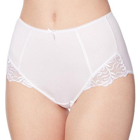 Debenhams - White lace trimmed full briefs