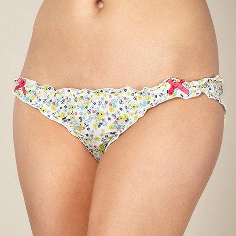 Iris & Edie - Designer cream floral microfibre bikini briefs
