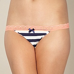 Iris & Edie - Designer dark blue striped tanga