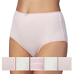 The Collection - Pack of five grey and pink plain and printed full briefs