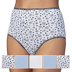 The Collection - Pack of five white and blue plain and printed full briefs