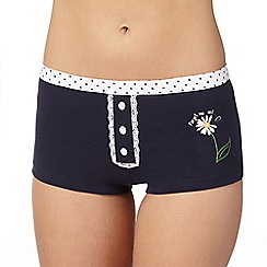 The Collection - Navy 'Forget me not' daisy print shorts