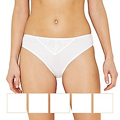 The Collection - 5 pack white cotton high leg knickers