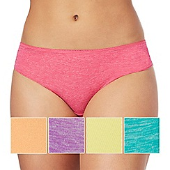 The Collection - 5 pack assorted marl lace trim bikini knickers