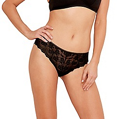 The Collection - Black lace front high leg briefs