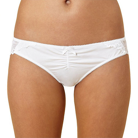 Debenhams - White lace back brazilian briefs