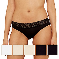 The Collection - Pack of five black, natural and white lace trim no VPL bikini briefs