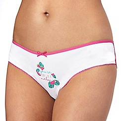 The Collection - White and pink melon print Brazilian knickers